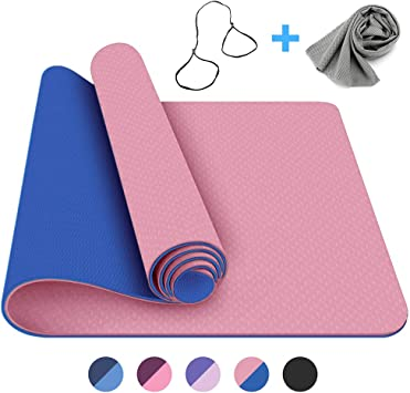FerDIM Non-Slip All-Purpose Yoga Mat,Eco Friendly Yoga Mats with Carry Straps and Ice Sport Towel for Women,Men- 1/4-Inch TPE Exercise Anti-Tear ...