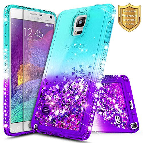 Note 4 Case, Galaxy Note 4 Glitter Case w/[Tempered Glass Screen Protector], NageBee Liquid Quicksand Waterfall Flowing Sparkle Bling Diamond Girls Cute Case for Samsung Galaxy Note 4 -Aqua/Purple