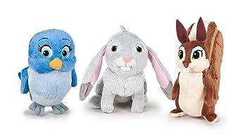 Disney - Pack 3 Peluches Amiguitos Princesa Sofía - Conejo, Ardilla y pajaro 14 cm