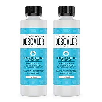 Descalcificador universal (2 unidades, 2 usos cada botella), fabricado en los Estados Unidos, para cafeteras Keurig, Nespresso, Delonghi, de cápsulas y ...