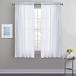 """PONY DANCE Sheer Curtain Valances - Faux Linen Textured Elegant Rod Pocket Light Filter Privacy Allow Half Curtains Voile Drapes for Kitchen/Bathroom Small Windows, W 52"""" x L 45"""", 2 Pieces"""