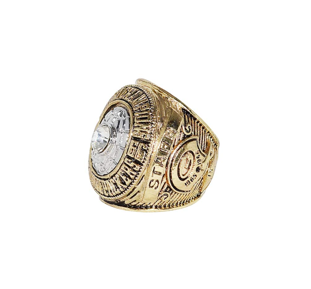 GREEN BAY PACKERS (Bart Starr) 1966 SUPER BOWL I WORLD CHAMPIONS (Playing Vs. Chiefs) Vintage Rare Collectible High Quality Replica NFL Football Gold Championship Ring with Cherrywood Display Box