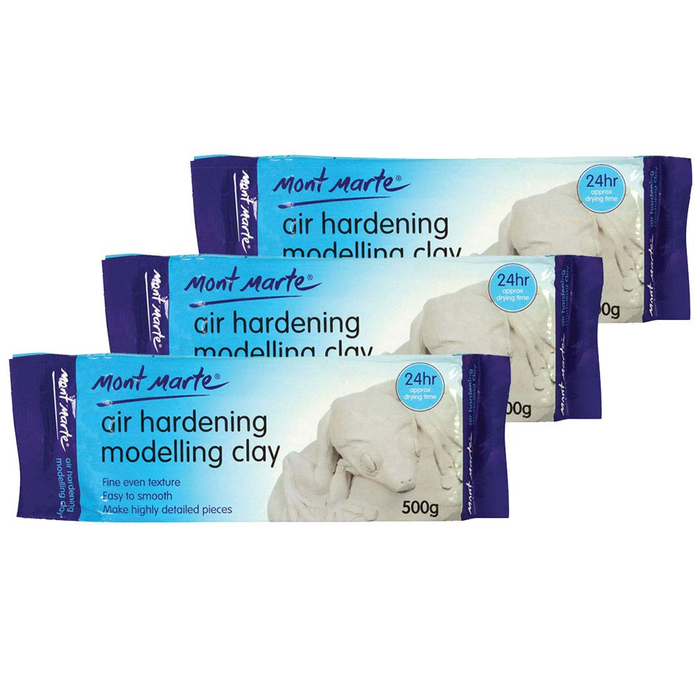 Mont Marte Modelling Clay Air Hardening White 3Pack, Ideal Choice for Professional Artists or Students.