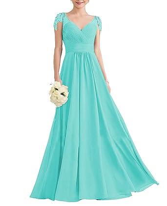 013a7623a22c Nicefashion Women's Gorgeous Beading Cap Sleeves Empire Floor Length A Line  Wedding Guests Dress Aqua US2