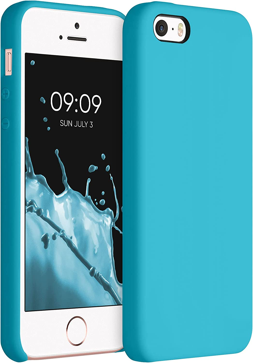 kwmobile TPU Silicone Case Compatible with Apple iPhone SE (1.Gen 2016) / 5 / 5S - Case Slim Protective Phone Cover with Soft Finish - Ocean Blue