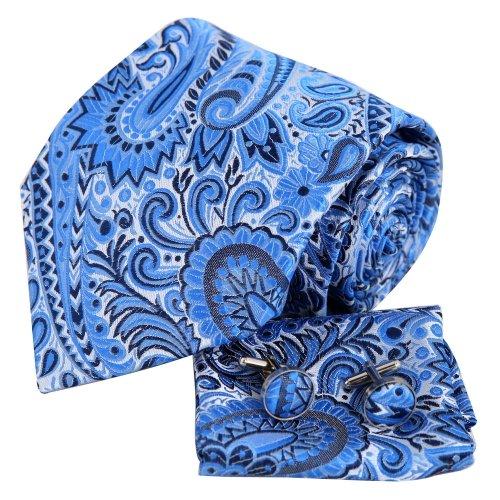 H6005 Blue Pattern Christmas Gift Silk Necktie Cufflink Hanky Set 3PT By (Christmas Silk Necktie)