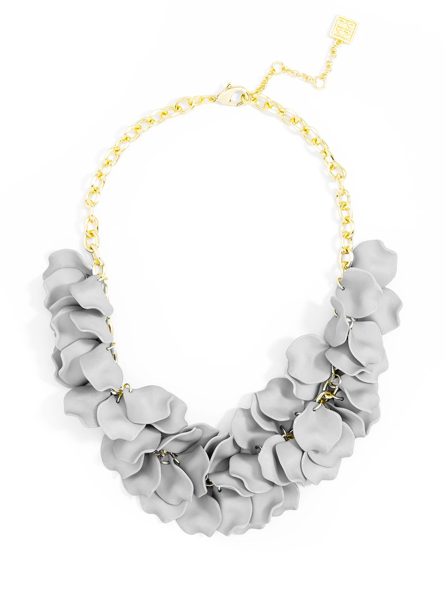 ZENZII Pastel Petals Necklace (Light Gray)