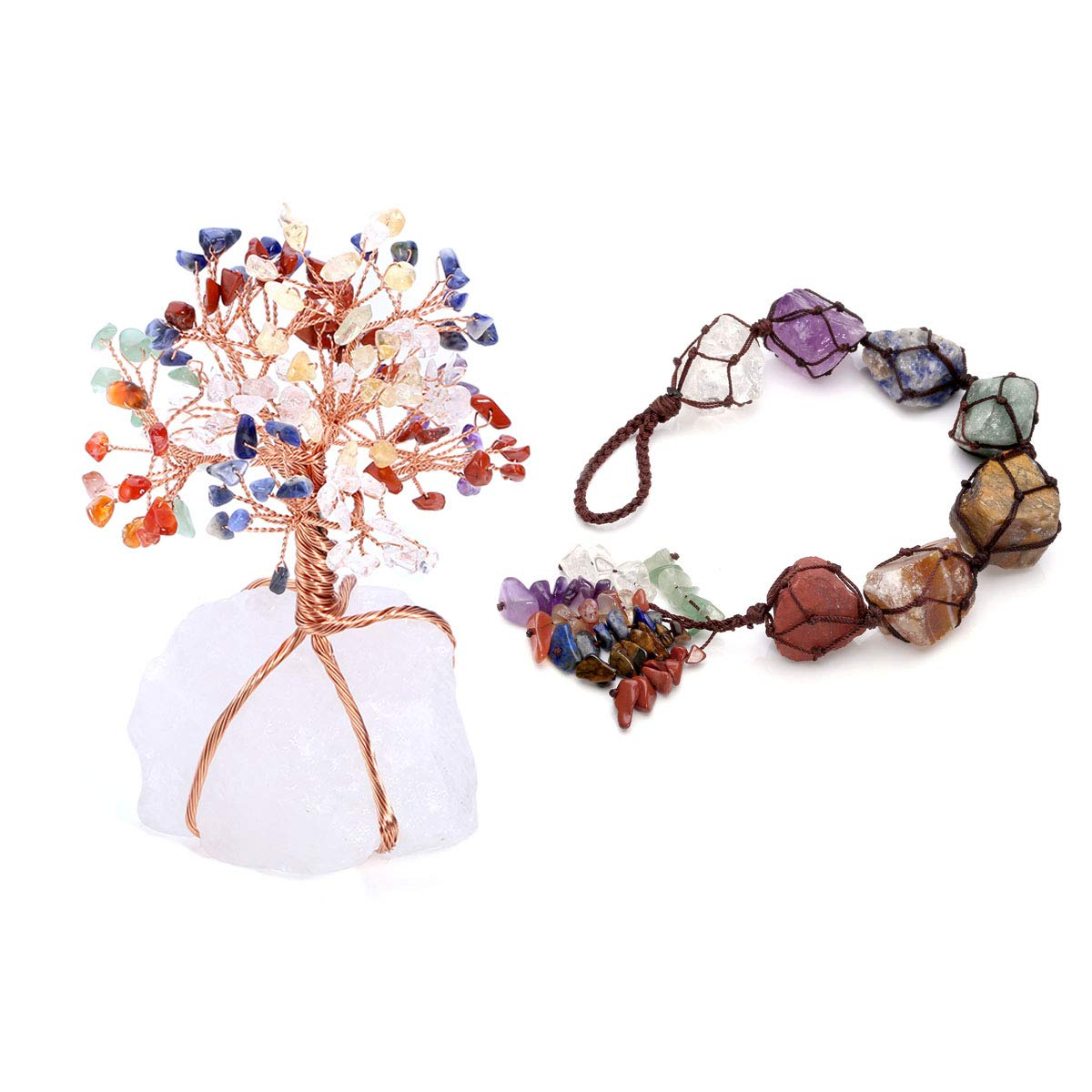 CrystalTears 7 Chakra Tree Life Crystal Kit Reiki Fengshui Gemstone Hanging Ornament Home Indoor Decoration Healing,Wealth,Luck,Yoga Meditation,Protection