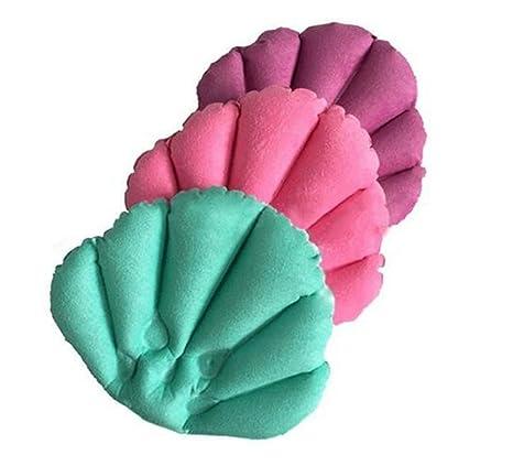 Lumanuby 1pcs Almohada para baño inflable con ventosa forma de concha