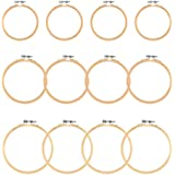 WOWOSS 12 Pieces 3 Size Embroidery Hoops Wooden Round Adjustable Bamboo Circle Cross Stitch Hoop Rings for Embroidery…