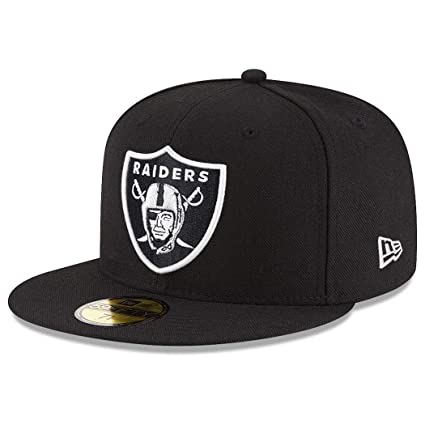 "521cd011b56170 New Era 59Fifty Oakland Raiders ""Black White"" Fitted Hat (Black)  NFL"