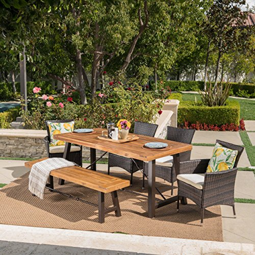 Great Deal Furniture Jelle Outdoor 6 Piece Teak Finished Acacia Wood Dining Set with Multibrown Wicker Dining Chairs and Beige Water Resistant Cushions (Wicker And Wood Furniture)