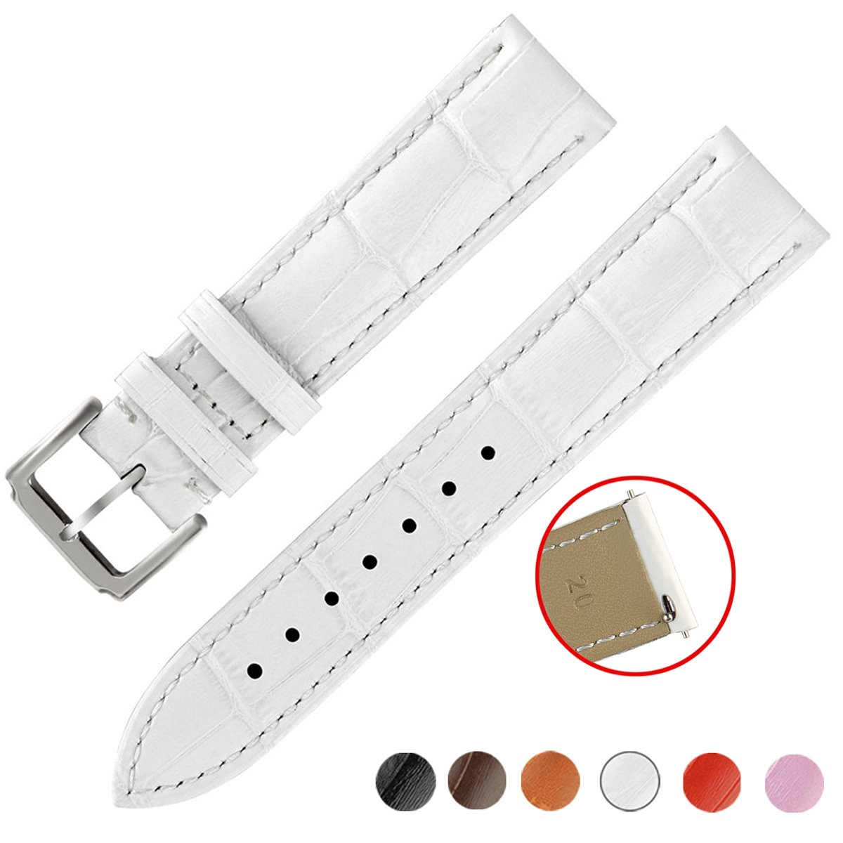 クイックリリースレザー時計バンド、ownitow本革時計ストラップ14 mm、16 mm、17 mm、18 mm、19 mm、20 mm、21 mm、22 mmまたは24 mm 22mm|ホワイト ホワイト 22mm B078NV2F1W