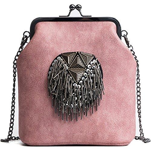 BAO Mujeres Mujeres Bolsas Diagonal Bolsa de hombro Bolsa Tote Trend Personalidad Bolsa Shell Paquete de moda Simple, brown pink
