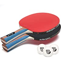 Killerspin JET Set 2 Table Tennis Paddles and Ping Pong Balls, 2 Ping Pong Paddles and 3 Ping Pong Balls, Great for Beginners and Kids, Table Tennis Racket with Wood Blade, Jet Basic Rubber Grips Ping Pong Balls – Red & Black
