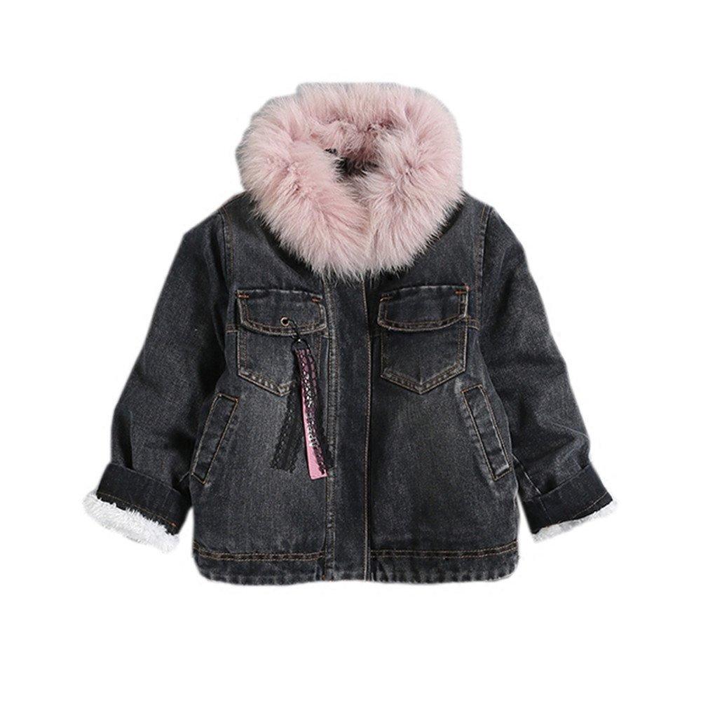 Kids Little Girls Fur Collar Denim Jacket Coat Outwear (6, Blue)