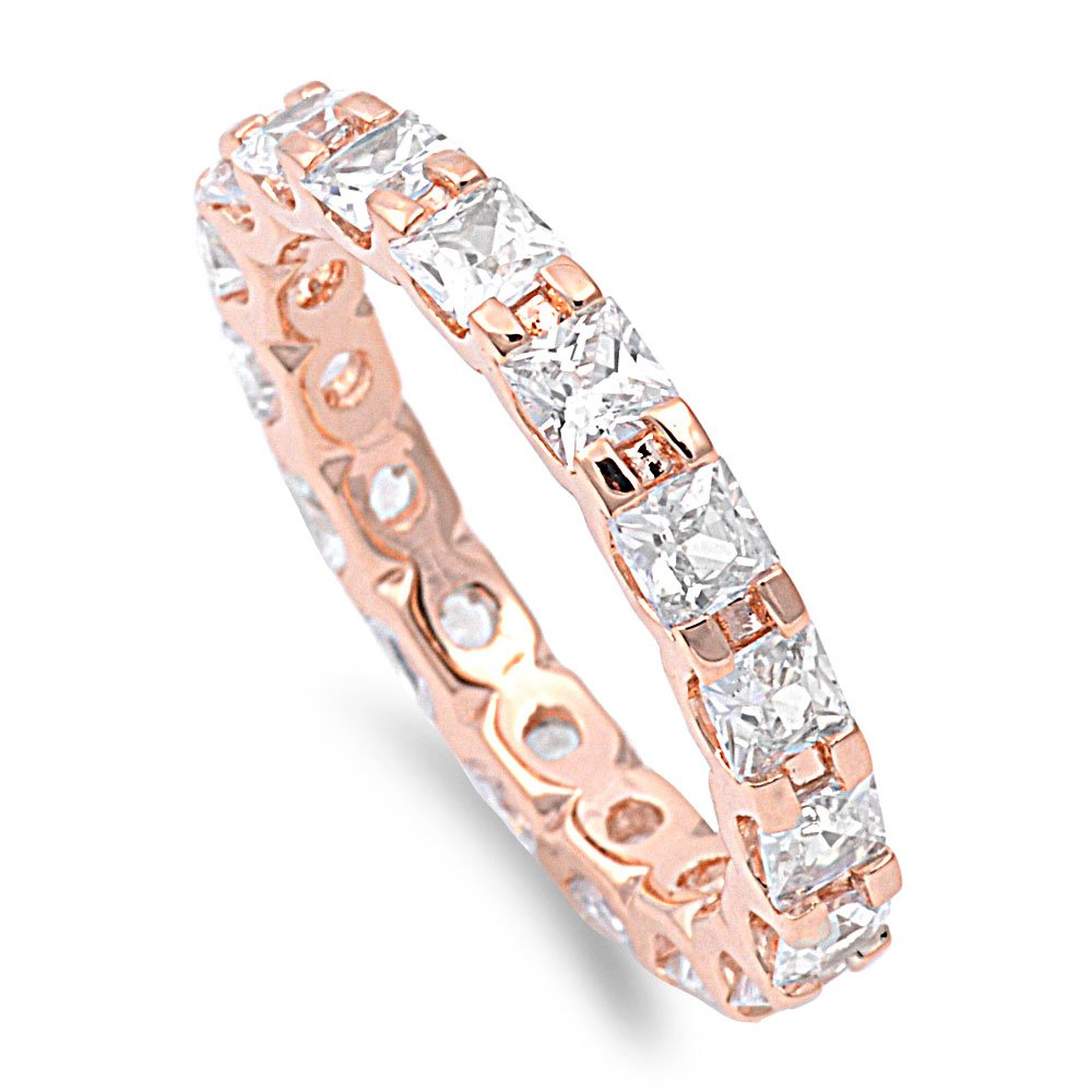 Clear Cubic Zirconia Alternating Eternity Ring Rose Gold-Tone Plated 925 Sterling Silver Size 12