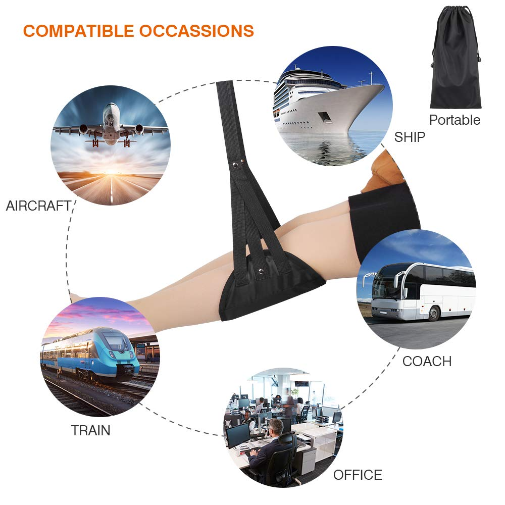 Airplane Footrest Hammock Made with Premium Memory Foam, Foot Hammock, Airplane Travel Accessories, Portable Airplane Foot Rest Used in Office/Plane/Home, Hammock Leg Rest Adjustable Height