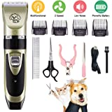 All-in-1 Dog Clipper, Electric Pet Hair Trimmer, Silent Rechargeable Pet Grooming Tool, Pet Hair Trimmer, Wireless Pet Clipper Grooming Kit with Scissor, Nail Clipper for Dog, Cat