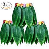 LesDay Ti Leaf Hula Skirt 3pcs Hawaiian Leaf Skirts Luau Party Supplies Luau Costume Adult Size Fits Men & Women