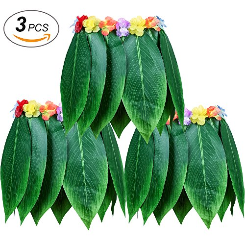 LesDay Ti Leaf Hula Skirt 3pcs Hawaiian Leaf Skirts Luau Party Supplies Luau Costume Adult Size Fits Men & Women by LesDay