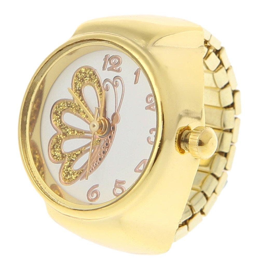 EERLLZ Women Dial Quartz Analog Finger Ring Watch Butterfly Elastic Gift Creative Steel