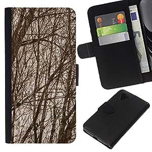 KingStore / Leather Etui en cuir / LG Nexus 5 D820 D821 / Ramas de árboles de bosque de otoño;