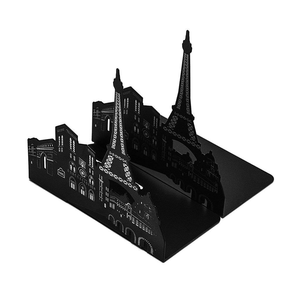 Bookends Pair Nonskid Heavy Metal Durable Sturdy Strong Books Organizer Telephone Booth Bookshelf Decor Decorative Bedroom Library Office School Supplies Stationery Gift (Grimace-Black) MerryNine