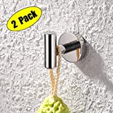 Kes SUS 304 Stainless Steel Coat Hook Towel/Robe Clothes Hook for Bath Kitchen Garage Heavy Duty Wall Mounted, Polished Finish 2 pack, A2164-P2