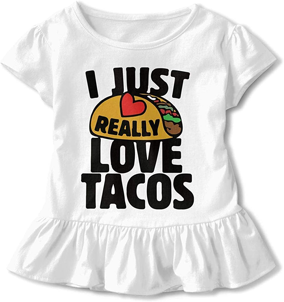 Toddler Baby Girl I Just Really Love Tacos Funny Short Sleeve Cotton T Shirts Basic Tops Tee Clothes
