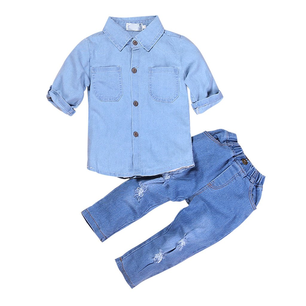 2pcs Kids Baby Girls Ripped Jeans Denim Clothing Set Shirts+Jeans 105/110CM