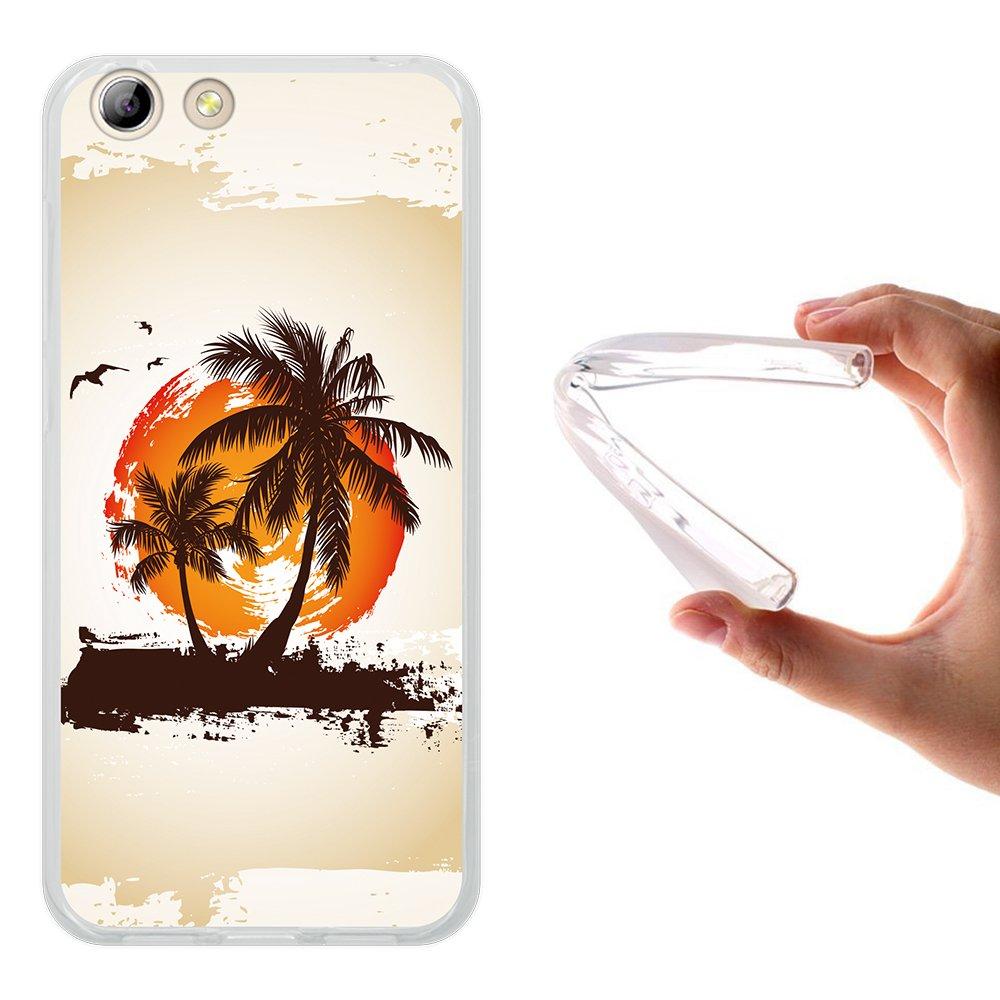 WoowCase Funda Elephone S7, [Elephone S7 ] Funda Silicona Gel Flexible Palmeras Paraíso Tropical, Carcasa Case TPU Silicona - Transparente