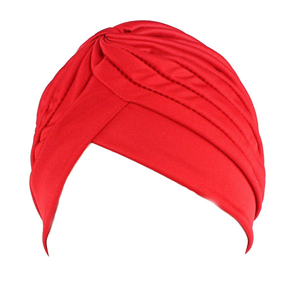 Mimgo Women Men Turban Head Wrap Band Chemo Bandana Hijab Pleated Indian Cap