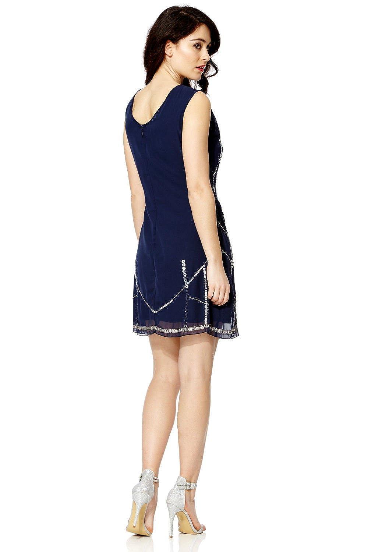 Vestido Recto Mujer Años 20 Estilo Vintage Charlestón Clásico Gatsby Abbey Flecos Lentejuelas Con Cuentas - Azul, 20: Amazon.es: Ropa y accesorios
