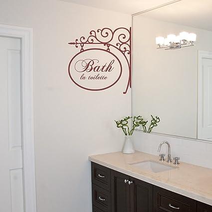 Bañar La Toilette vinilo etiqueta de La pared del cuarto de baño ...
