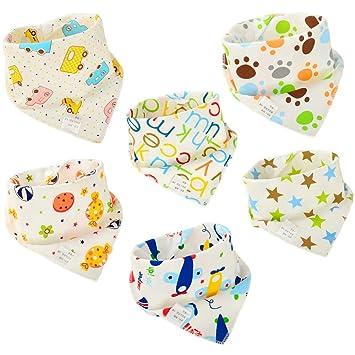 EE/_ Baby Unisex Bandana Drool Bibs Soft Absorbent Organic Cotton Teething Toy Co