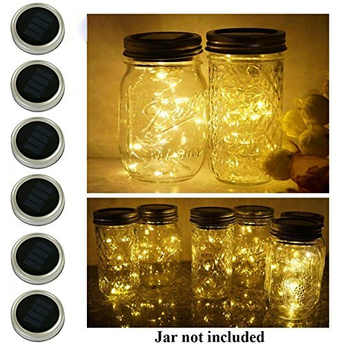 6 Pack Mason Jar Lights, 10 LED Solar Warm White Fairy String Lights Lids Insert for Garden Deck Patio Party Wedding Christmas Decorative Lighting Fit for Regular Mouth Jars]()