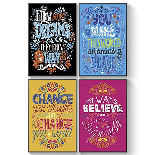Pillow & Toast Inspirational Wall Posters for Kids, tweens