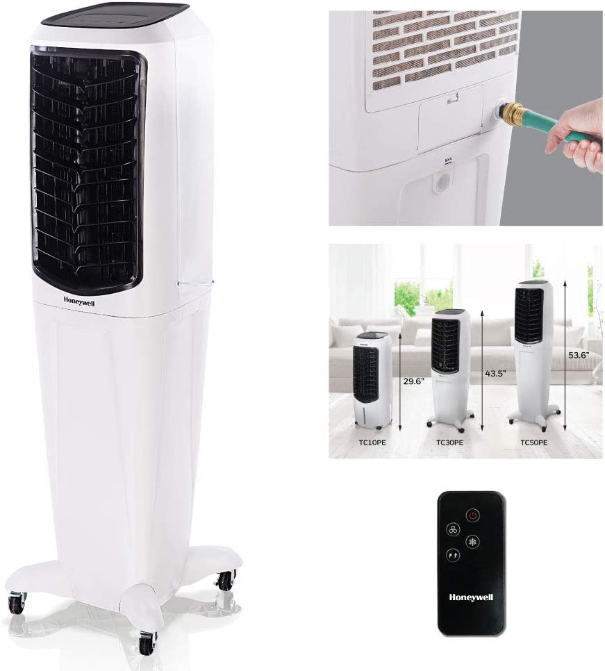 "Honeywell 588-647 CFM Portable Evaporative Tower Cooler with Fan, Humidifier & Remote, 53.6"" TC50PEU, White"