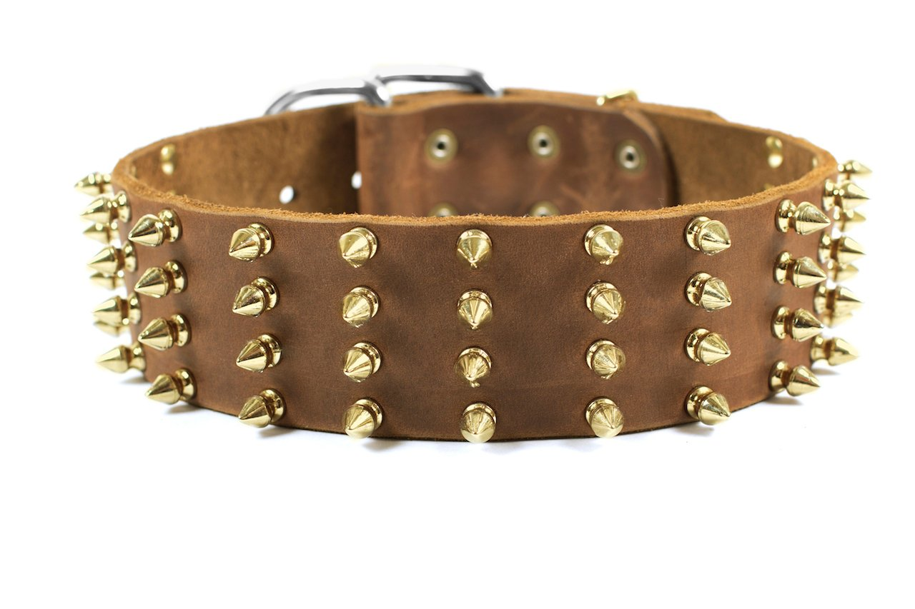 Dean and Tyler  4 ROW SPIKES  Dog Collar With Solid Brass Hardware And Nickel Buckle Tan Size 76cm by 6cm Width Fits Neck Size 71cmes to 81cmes.