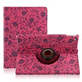 TOPCHANCES Slim Mordern Smart Cover Case for the iPad Air, iPad 5 with Auto Sleep/Wake Function Built in Stand-Green Embossed Flowerss Case (Huamulan Red)