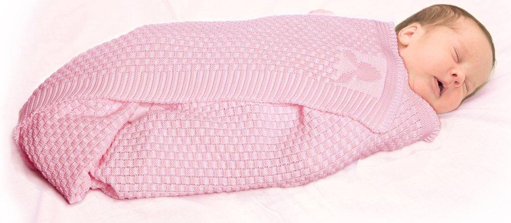 Wallaboo Baby Blanket Eden, Large Size, 100 Percent Super Soft Organic Cotton Blanket, Dimensions 35-Inchx 28-Inch, Newborn, Natural Comfort, Pink Wallaboo BV WBE.0214.4703