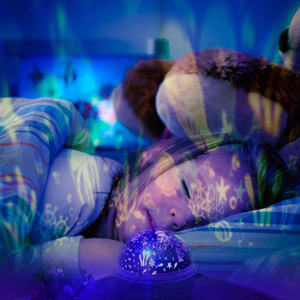 Star Light Night Proiettore Lampada, Sunvito 360 gradi che girano lampada proiettore romantico Stelle Moon Sky Proiettore per bambini, bambini, regali di Natale, camera per bambini, matrimonio, compleanno, vacanze (bianca)