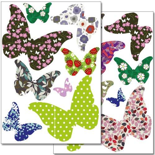 Wandkings WS-50049 Schmetterlinge als Vogelschutz und Fensterdekoration Sticker Set, 16 bunte-Aufkleber, 2 DIN A4 Bögen