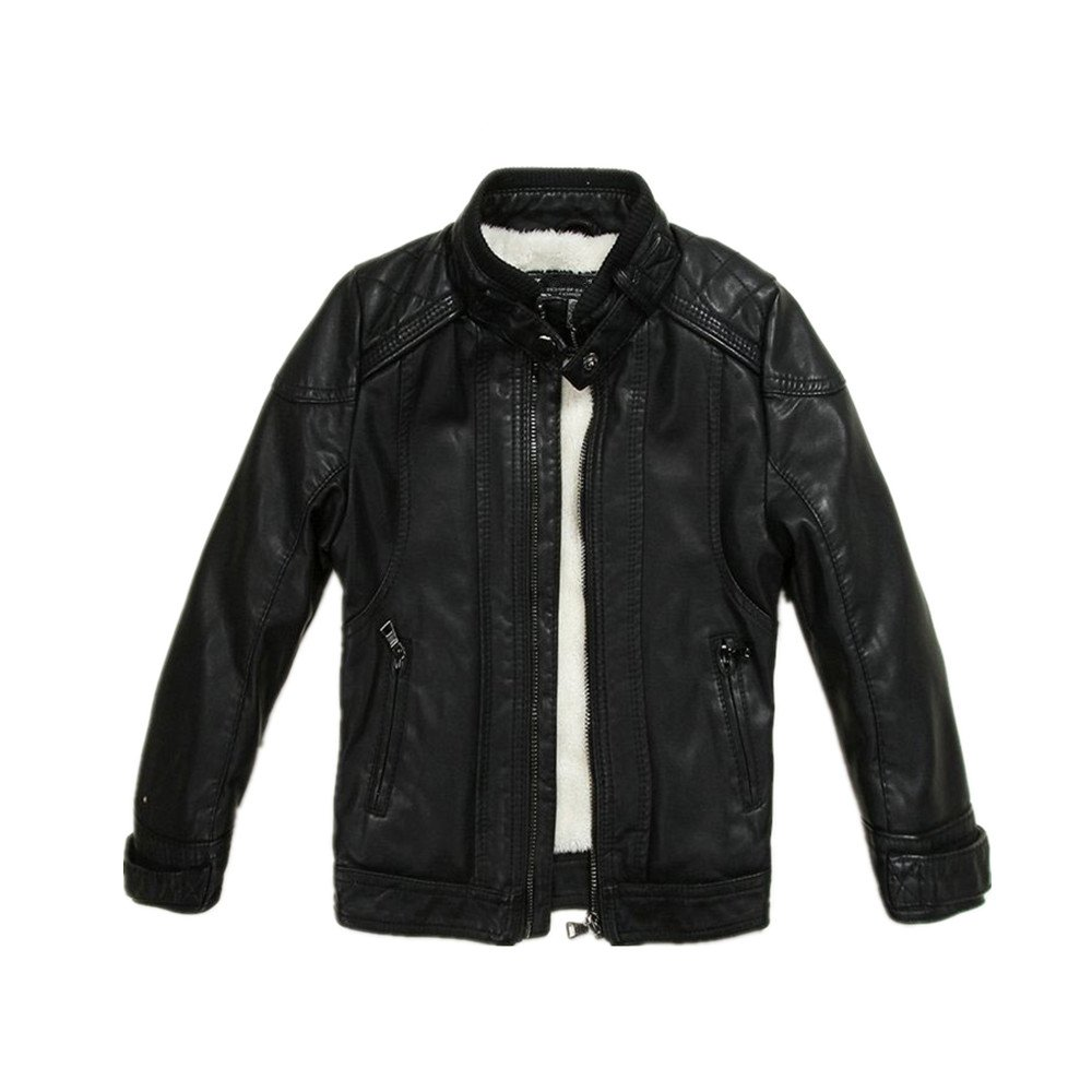 LJYH Boys Leather Jacket New Spring Thick Velvet Children's Clothing Baby Coat PU Leather