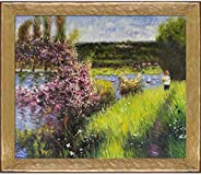 La Pastiche RN738-FR-58682020X24 The Seine at Chatou with Gold Luna Framed Hand Painted Oil Reproduction, 28