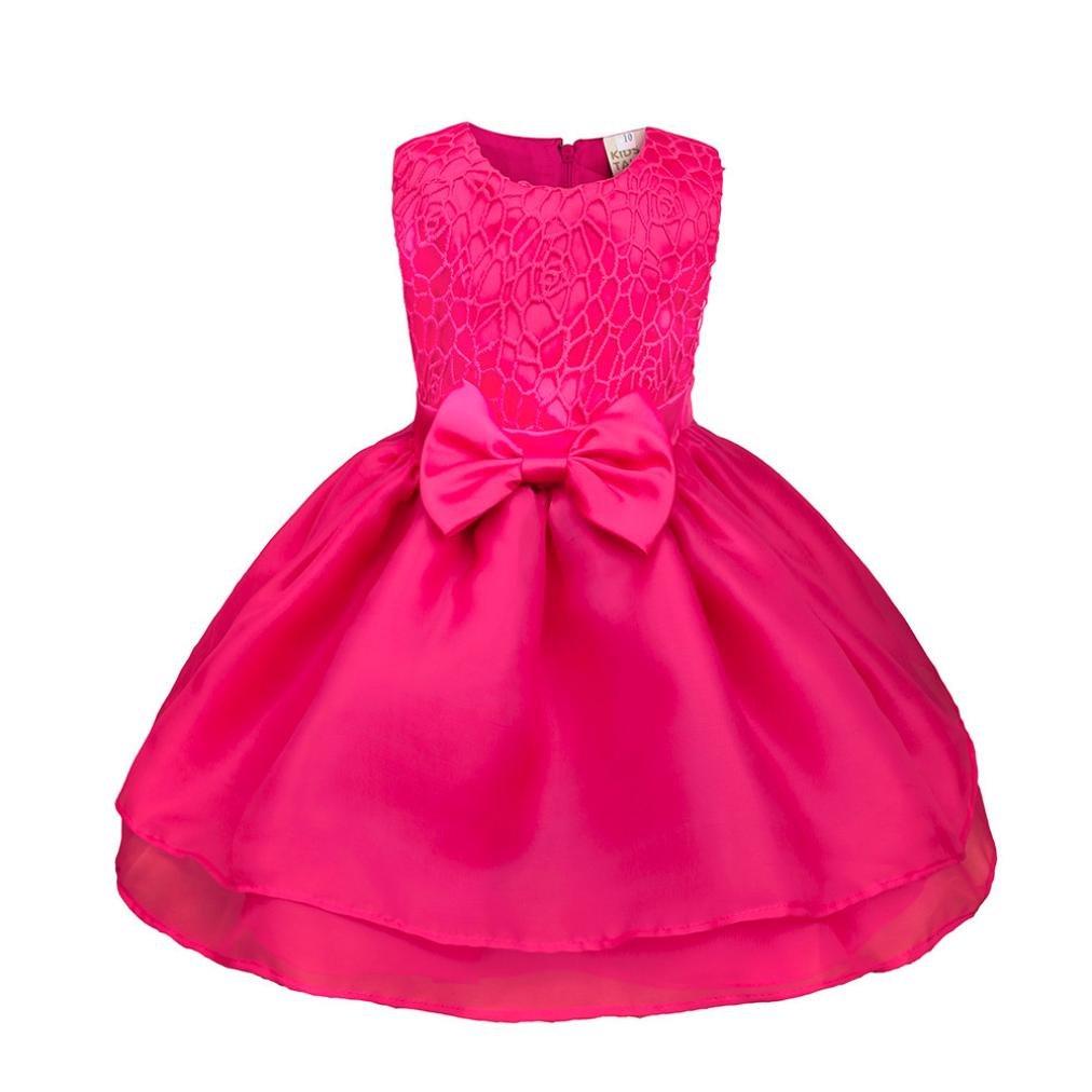 YJYdada Flower Baby Girl Princess Bridesmaid Pageant Gown Birthday Party Wedding Dress (Hot Pink, 12M)