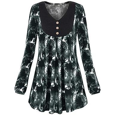 6265fe5662dae Amazon.com  Women Plus Size Floral Print O-Neck Long Sleeve Blouse ...