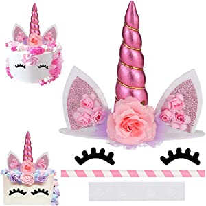 Unicorn Cake Topper, Reusable Unicorn Horn & Ears & Eyelashes and Flowers, Party Cake Decoration for Baby Shower, Wedding, Birthday Party