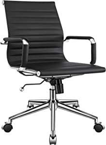 LUXMOD Modern Office Chair, Mid Back Office Chair Black, Desk Chair with Armrest, Black Conference Chair, Ribbed Office Chair